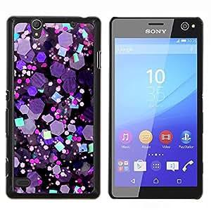 KLONGSHOP // Cubierta de piel con cierre a presión Shell trasero duro de goma Protección Caso - Crystal púrpura del hexágono Brillante - Sony Xperia C4 //