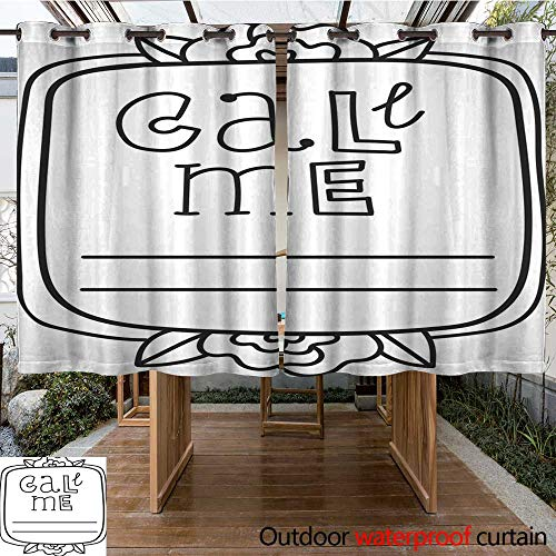 RenteriaDecor Outdoor Balcony Privacy Curtain Printable Call me Sticker Page Fun Summer Doodle Frame Floral Decoration Print Out and Color it Yourself Coloring Page W84 x L72 ()