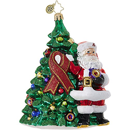 Christopher Radko Red Ribbon Claus Charity Awareness Glass Ornament - 2017 AIDS Awareness Ornament - 5.5