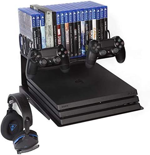 Borangame, Soporte de Pared para PlayStation 4 PS4 (Normal/Pro/Slim), PlayStation 5 (PS5 todos los modelos) y XBOX (360/One/One S/One X), Base Horizontal con Soporte para Mandos, Auriculares y Juegos