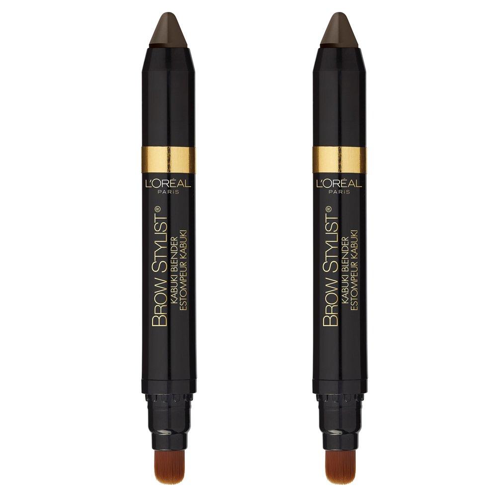 L'Oreal Paris Cosmetics Brow Stylist Kabuki Blender Brow Crayon, Brunette, 2 Count