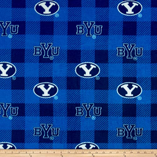 Sykel Enterprises NCAA Brigham Young University Buffalo Plaid Fleece Blue White and Navy, Fabric by the Yard ()