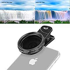 Note:1. The smartphone is NOT included.2. If you want to use the filter on a camera, please check the lens thread size of your camera, it is only compatible with 37mm lenses.Description:Adjustable ND filter is an entry-level practical filter,...