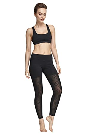 Lotus Instyle Impreso Negro Malla Yoga Pantalones Leggings ...
