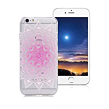 XiaoXiMi Transparent TPU Case for iPhone 5/5S/SE with Unique Totem Design Pattern Soft Silicone Cover Flexible Smooth Phone Skin Ultra Slim Thin Shell Full Protective Bumper Scratchproof Shockproof Case for iPhone 5/5S/SE - Pink Love Lotus