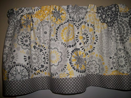 Gray Polka Dots Yellow Circles retro mid-century waverly fabric curtain Valance (Dot Valance Circle)