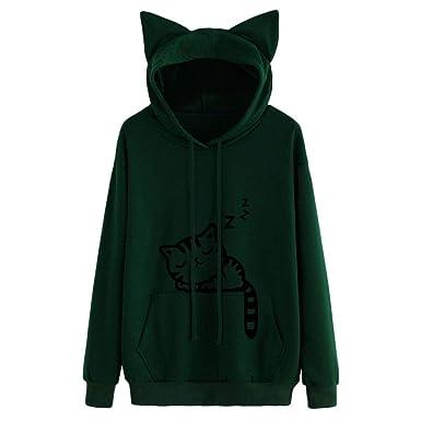 Felpa con Cappuccio Sezione Lunga Pullover Cappotto Pullover- Felpe  Sportive Donna Ragazza Maglie Strisce Tumblr 3eae5f9ca11