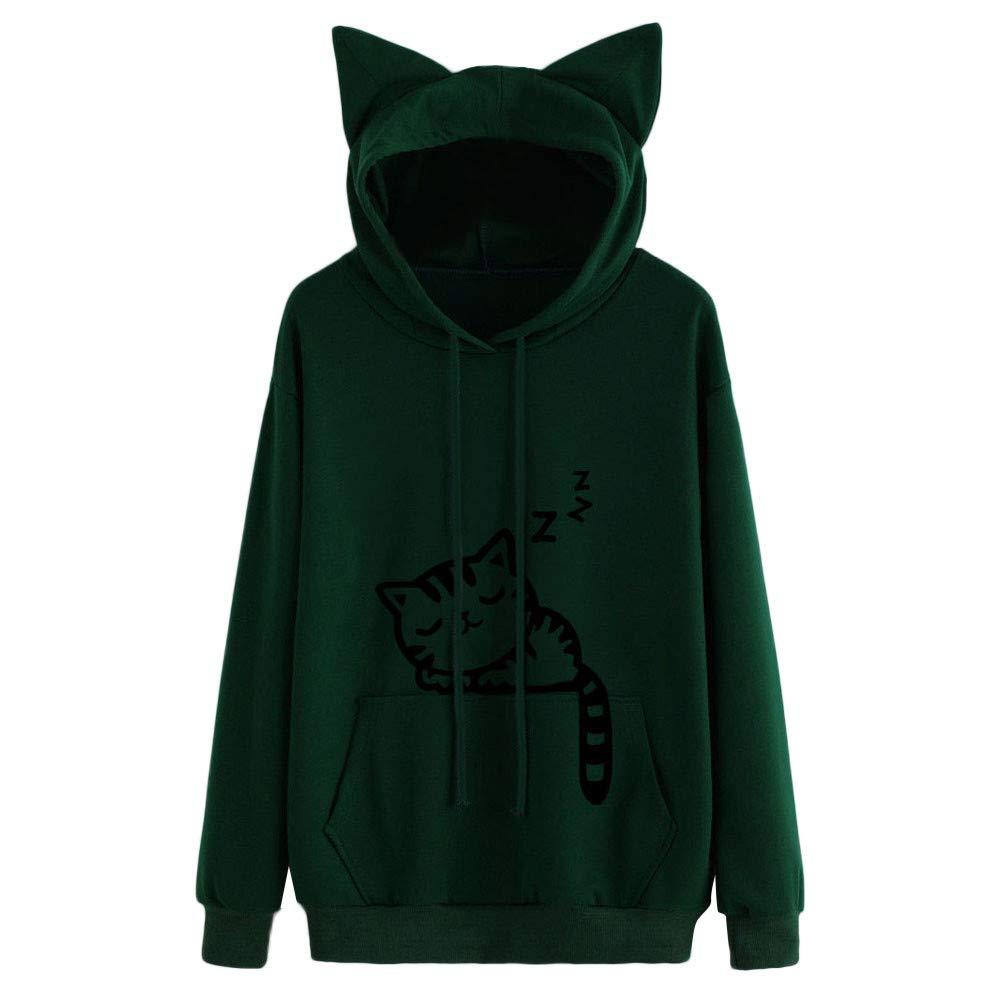 Wobuoke Womens Cute Cat Long Sleeve Cat Ear Hoodie Sweatshirt Hooded Pullover Tops Blouse Army Green