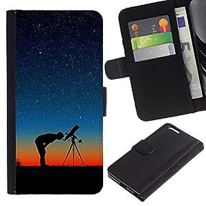 QCASE / Apple Iphone 6 Plus 5.5 / las estrellas del cielo nocturno vista hubble foto galaxia amarilla / Delgado Negro Plástico caso cubierta Shell Armor Funda Case Cover