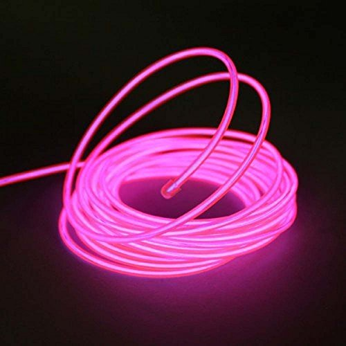 Neon Glowing Strobing Electroluminescent Wire, Portable Light Luminous wire 15ft length Driver with Battery Pack Controller for Cosplay Dress Burning Man by Megach (15ft, pink)