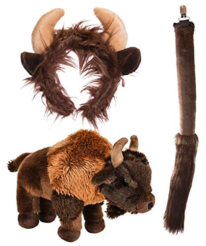 (Wildlife Tree Stuffed Plush Buffalo Ears Headband and Tail Set with Baby Plush Toy Bison Bundle for Pretend Play Animals)