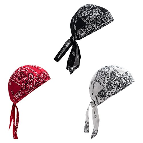 Rag Skull Cap Bandana Headwrap (Elephant Brand Doo RAG 100% Cotton - Skull Cap Beanie For Cycling - Head Wrap Pack Of 3 (Paisley))