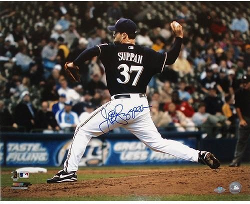 Jeff Suppan Brewers side view pitching Autographed 16x20 Photo - Authentic Signature (Side Brewers)