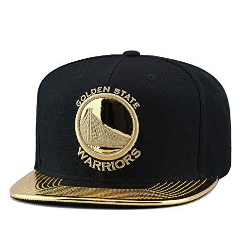 Mitchell & Ness Golden State Warriors Snapback Hat Black/Metallic Gold Foil -