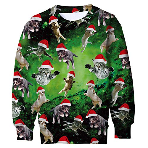 Funnycokid Children Christmas Elf Jumper Sweatshirt 3D Print Graphic Cats Sweater Ugly X-mas Costumes Fleece Pullover