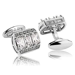 Alimab Jewelry Men's Cuff Links Hollow Rectangle with Cubic Zirconia Silver - Stainless Steel Men Cufflinks