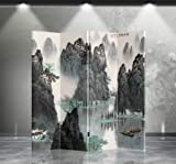 Double Sided Canvas Screen Room Divider - Mountain & River