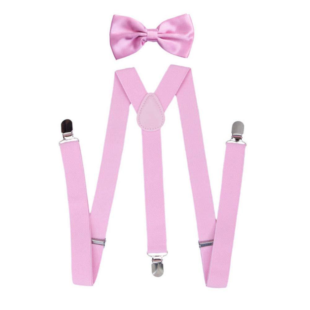 yanbirdfx Solid Color Unisex Clip-on Elastic Y-Shape Adjustable Suspenders Bowtie Set - Pink