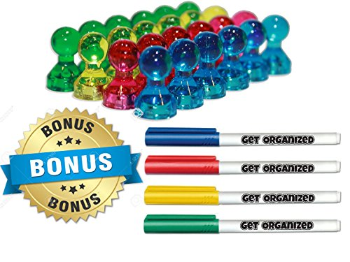 Rectangle Advertising Magnets (Magnetic Push Pins - Home & Office Combo - 24 Colorful Magnets & 4 Bonus Premium Dry-Erase Markers - by Get Organized)