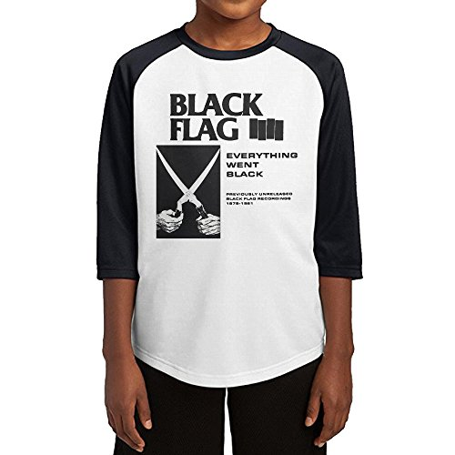 [GUYT Youth Boys Black Flag-Everything Went Black Raglan Baseball T Shirt Black Size XL] (Circle Jerk Costume)
