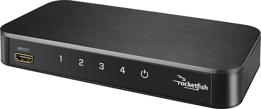 Rocketfish - 4-Port 4K HDMI Switch Box - Black RF-G1501