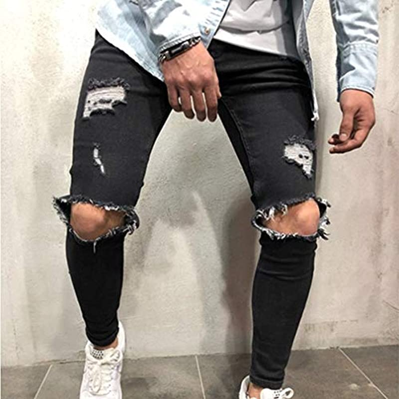 BOLAWOO dżinsy męskie ze stretchu, denim skinny Fit, moda markowa, rozciągliwe, rozerwane kolana, rozmiar: Odzież