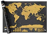 Scratch Off World Map Poster by Srachco - Premium Large size map with detail cartography include scratcher - Track your adventures, perfect gift for travelers.