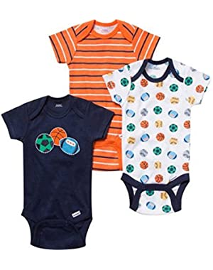 Newborn Baby Boy Bodysuits - Set of 3 - Navy Sports Theme