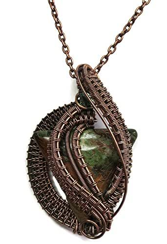 Amazon.com: African Green Opal and Antiqued Copper Wavy