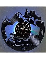ROMK Vinylklocka Hogwarts Express vinylskiva väggklocka LED-lampa 30 cm vinyl kvartsklocka kreativ klocka födelsedagspresenter för barn och vänner väggklockor