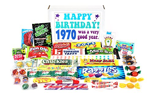 Woodstock Candy 1970 48th Birthday Gift Box - Retro Nostalgic Candy Mix for 48 Year Old Man or Woman Jr. 1970 Collection