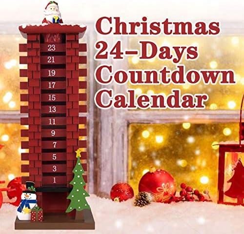 [해외]ALLADINBOX Santa Claus Wooden Calendar Countdown 24 Days Christmas Decoration Gifts / ALLADINBOX Santa Claus Wooden Calendar Countdown 24 Days Christmas Decoration Gifts
