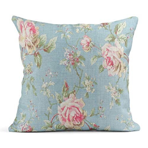 Elegant Blue Lace Pattern - Semtomn Decor Flax Throw Pillow Covers Case Blue Vintage Rose Pink Floral Elegant Lace Pattern Abstract 18