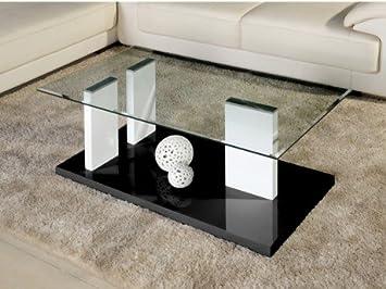 Table Basse Alienor Ii Verre Trempe Et Mdf Laque Blanc Et Noir