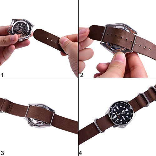 Ritche Genuine Leather NATO strap 20mm Rich Brown Replacement timex weekender watch band Photo #4