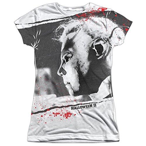 Halloween II Myers Mask (Front Back Print) Juniors Sublimation Shirt White -