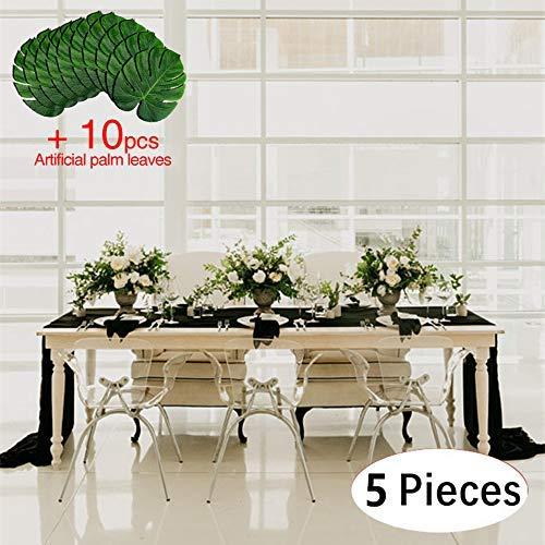 B-COOL Classy Soft Chiffon Table Runner 27.5X120 Black Chiffon Fabric Sheer Wedding Table Draping Overlay linen for Wedding Birthday Party(Set of 5pcs) [並行輸入品]   B07N8CB55D