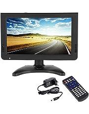 10 Inch HD Portable TV Digital and Analog LED TV Multimedia Player Support TF Card/USB/Audio Car TV DVB-T DVB-T2 for Car, Outdoor or Home,Black,European Plug