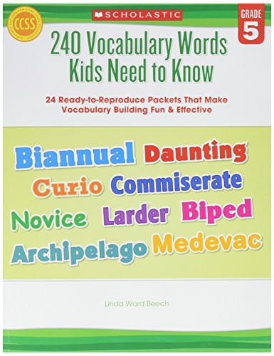 Scholastic Teaching Resources 9780545468657 240 Vocabulary Words Kids Need to Know, Grade 5, 0.24