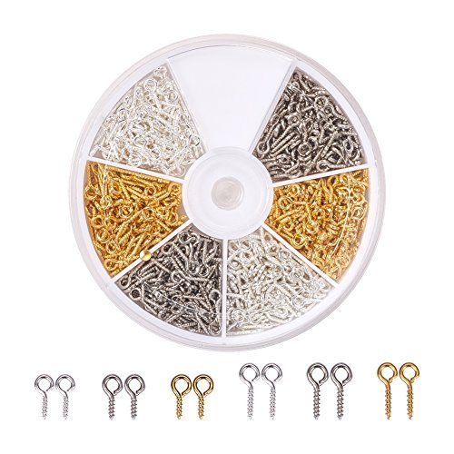 Art Deco Screw - PandaHall Elite 700 Pcs Screw for Half-drilled Beads Golden Silver Platinum Eye Pin Eyes Bail Findings for Clay Jewelry Assortments