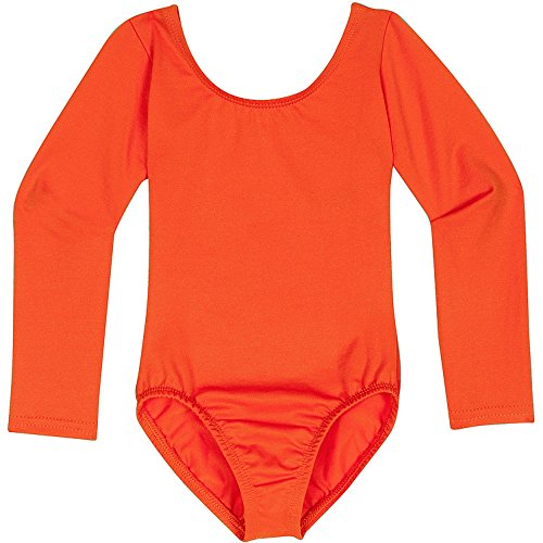 Toddler and Girls Leotard for Dance, Gymnastics and Ballet with Long Sleeve Orange L (10)