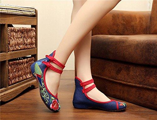 Tela de Zapatos de Plaza Bordados de 2018 de el Nacional Viaje y de Ocio Heighten Zapatos Primavera Interior Verano Zapatos de de la de en de Danza Mujer CAI señoras Azul Zapatos Viento wqdIfnZq