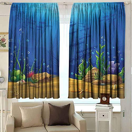 XXANS Outdoor Patio Curtains,Aquarium,Waterproof Patio Door Panel,W72x63L Inches Blue Light Coffee Green