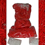 1200 Rubber RED Color Bands for Rainbow Loom Refill & 50 Clips &