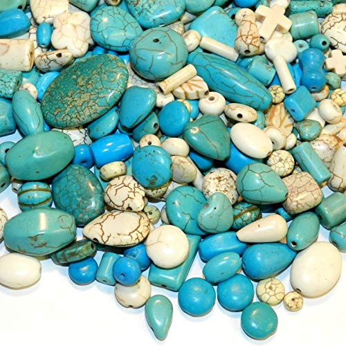 Turquoise Magnesite Gemstone Bead 50-Gram Assorted Shape Mix Blue & White AG01