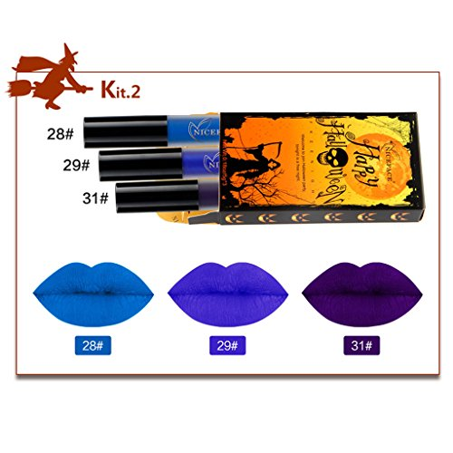 HNBility 3pcs/Set Halloween Festival Party Matte Gothic Waterproof Long Lasting (Halloween Costumes Based On Words)