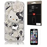 iPhone 6 Case, FiveLimit(TM) For Apple iPhone 6 4.7 3D Luxury Bling Crystal Pearl Love White Hello Kitty Fairy Tale Flower Diamond Cover Case (Package includes: 1 X Screen Protector) (White)