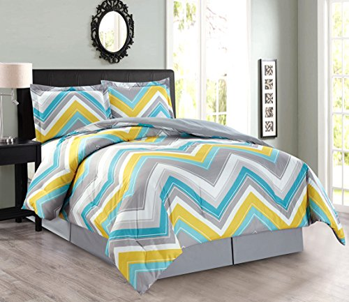 (4-Piece Oversize Zigzag Reversible Designer Goose Down Alternative Comforter Set Queen Size Bedding (Turquoise Blue, Yellow, Grey))