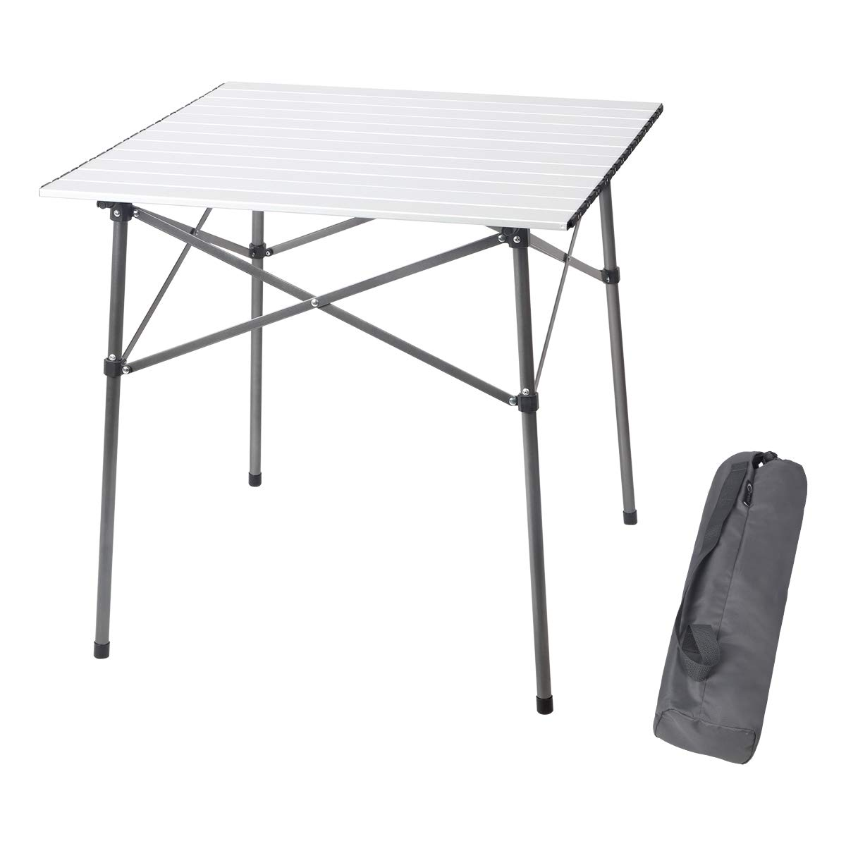 Incroyable Amazon.com : PORTAL Lightweight Aluminum Folding Square Table Roll Up Top 4  People Compact Table With Carry Bag For Camping, Picnic, Backyards, ...