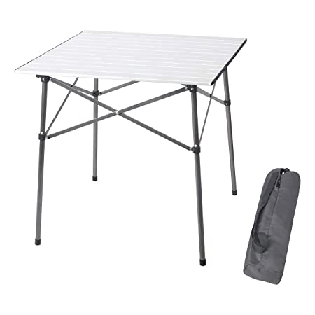 PORTAL Lightweight Aluminum Folding Square Table Roll Up Top 4 People Compact Table with Carry Bag for Camping, Picnic, Backyards, BBQ